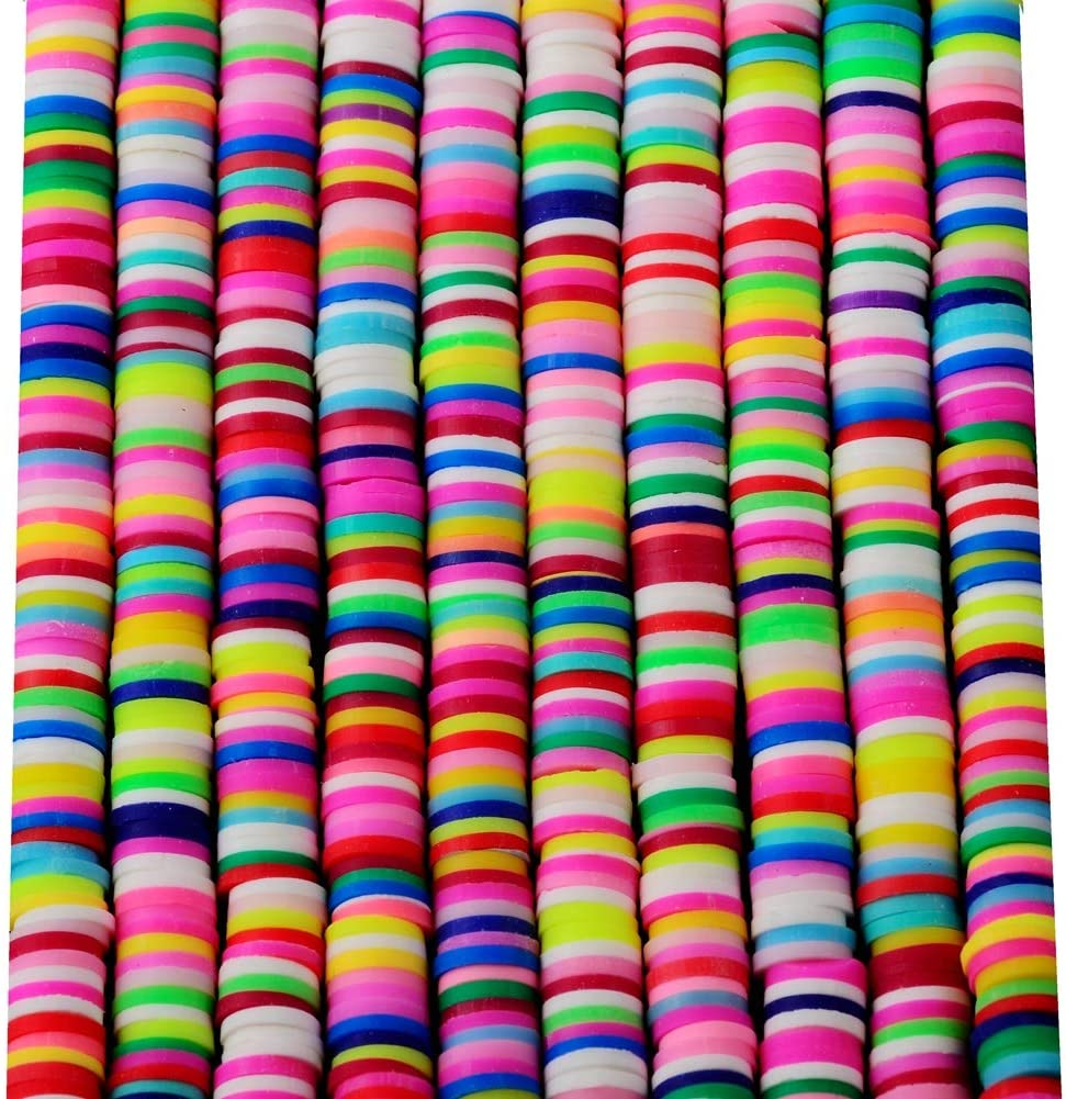 Clay Beads 10strands 6mm Vinyl heishi Chip Disk Flat Round Loose Handmade Polymer Fimo Spacer Bead About 3200pcs Mutilcolor DIY for Jewelry Making Necklace Bracelet Finding (6mm, Rainbow Color 2)