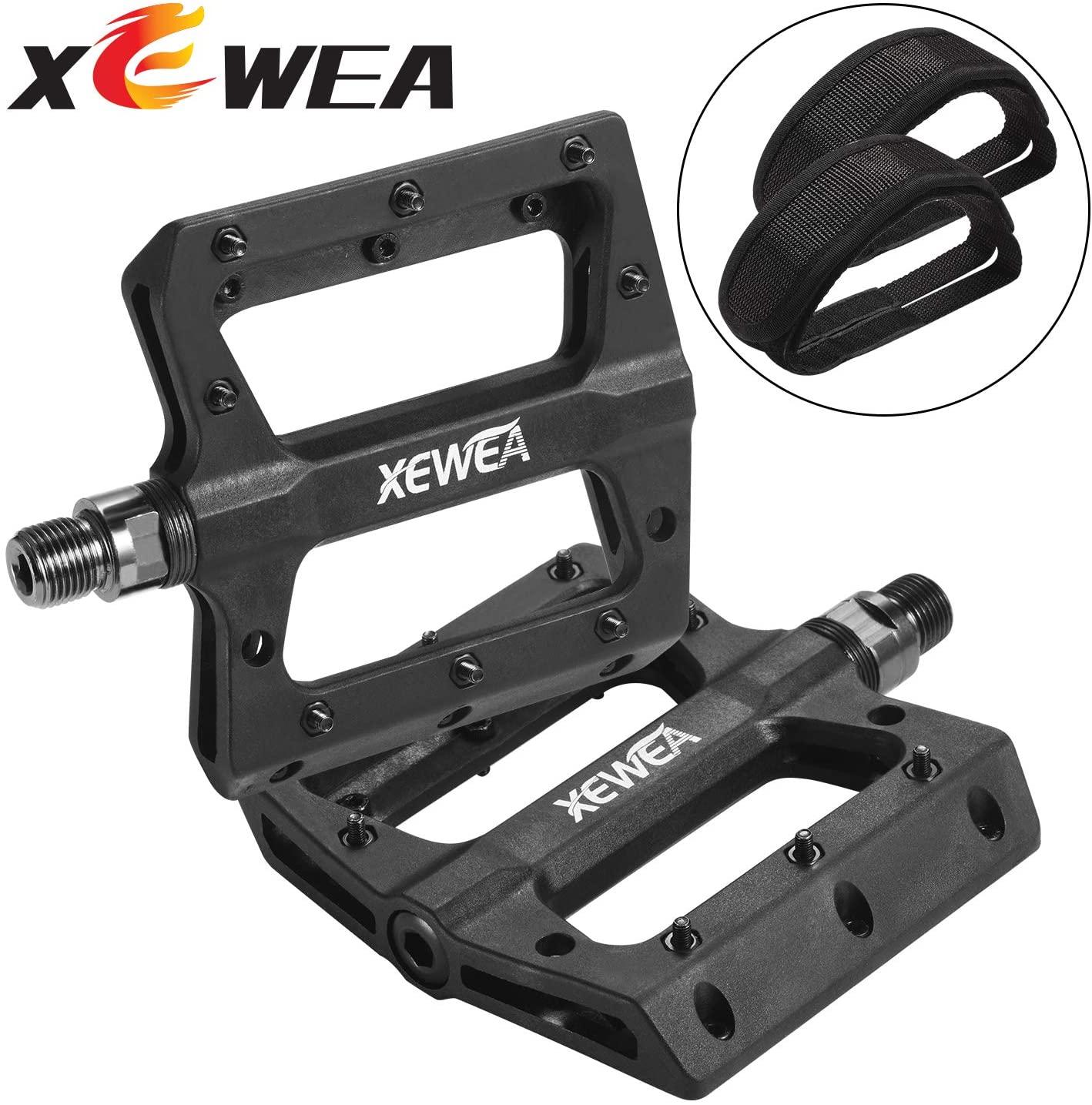 XEWEA Bike Pedal Straps Set, Nylon Fabric Anti-Slip Durable Mountain Bike Flat Pedals,Ultralight Big Platform Pedals for Road MTB Peleton BMX Bike Bicycle 9/16