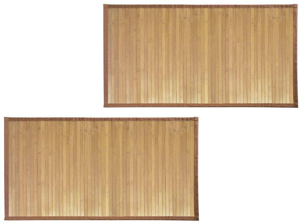 mDesign Bamboo Rectangular Spa Bath Mat Rug with Fabric Trim - Water Resistant - for Bathroom Vanity, Bathtub/Shower, Entryway - Environmentally Friendly, 21