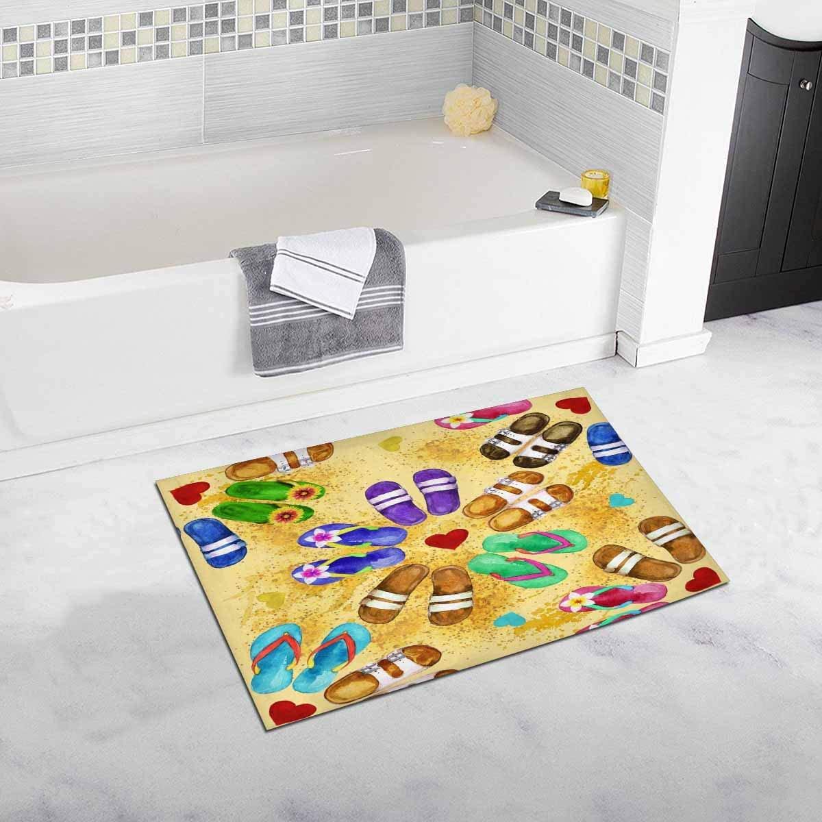 INTERESTPRINT Flip Flops Bath Mat Non-Slip Bathroom X-Large Size 20 X 32 Inches