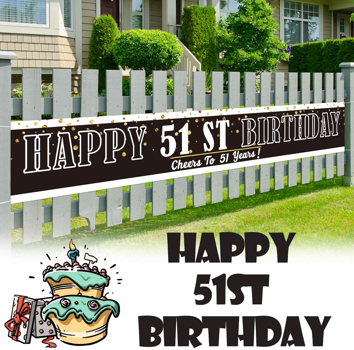 LINGPAR 9.8 x 1.6 ft Large Sign Happy 51st Birthday Banner - Cheers to 51 Years Old Decor