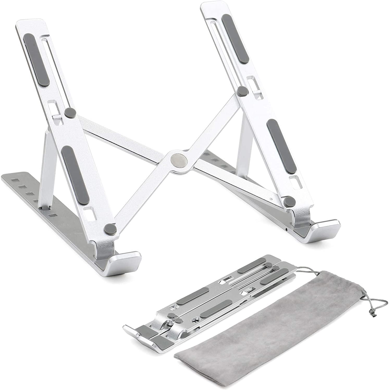 LUCYCAZ Adjustable Laptop Stand, Ergonomic Portable Aluminum Laptop Riser Foldable Holder for Desk Table