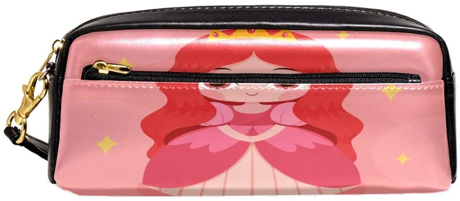 Princess Baby Zipper Pencil Case PU Leather Pen Box Cosmetic Makeup Bag Purse Pouch Organizer School Office Supplies for Girls Boys Unisex