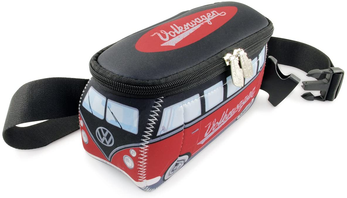 BRISA VW Collection - Volkswagen Samba Bus T1 Camper Van 3D Neoprene Hip Bag, Belly Bag, Fanny Pack, Bum Bag, Waist Pack - Theft Protected, Anti Theft (Neoprene/Red/Black)