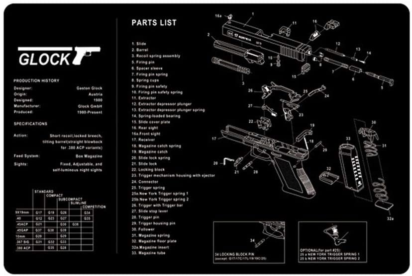 Gaming Mousepad Large Gun Cleaning Mat Goliathus Speed Extended Violent Mouse Pad Barrett Gun pad Gun Disassembling Mousepad Preparation for Battle (Glock-16.911in)