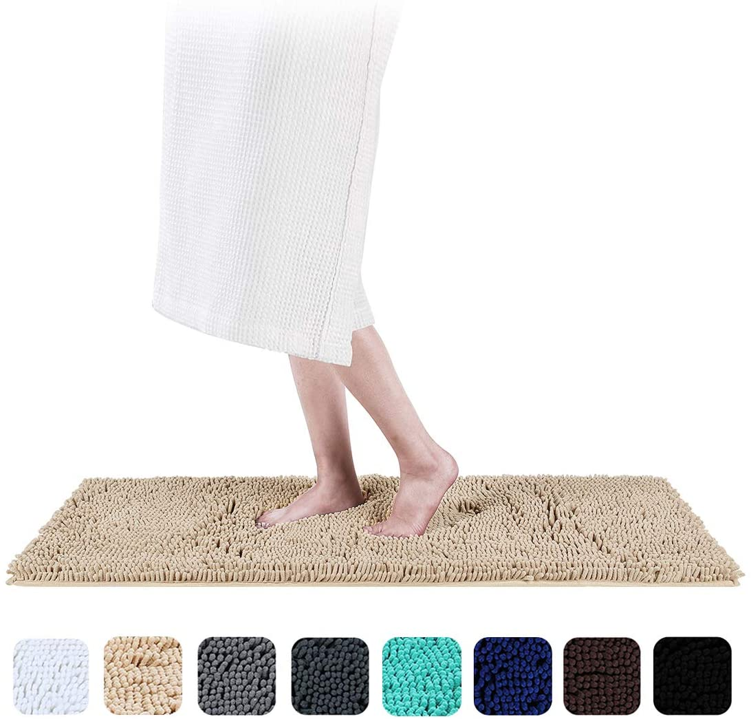 Smiry Luxury Chenille Bath Rug, Extra Soft and Absorbent Shaggy Bathroom Mat Rugs, Machine Washable, Non-Slip Plush Carpet Runner for Tub, Shower, and Bath Room(17''x47'', Beige)