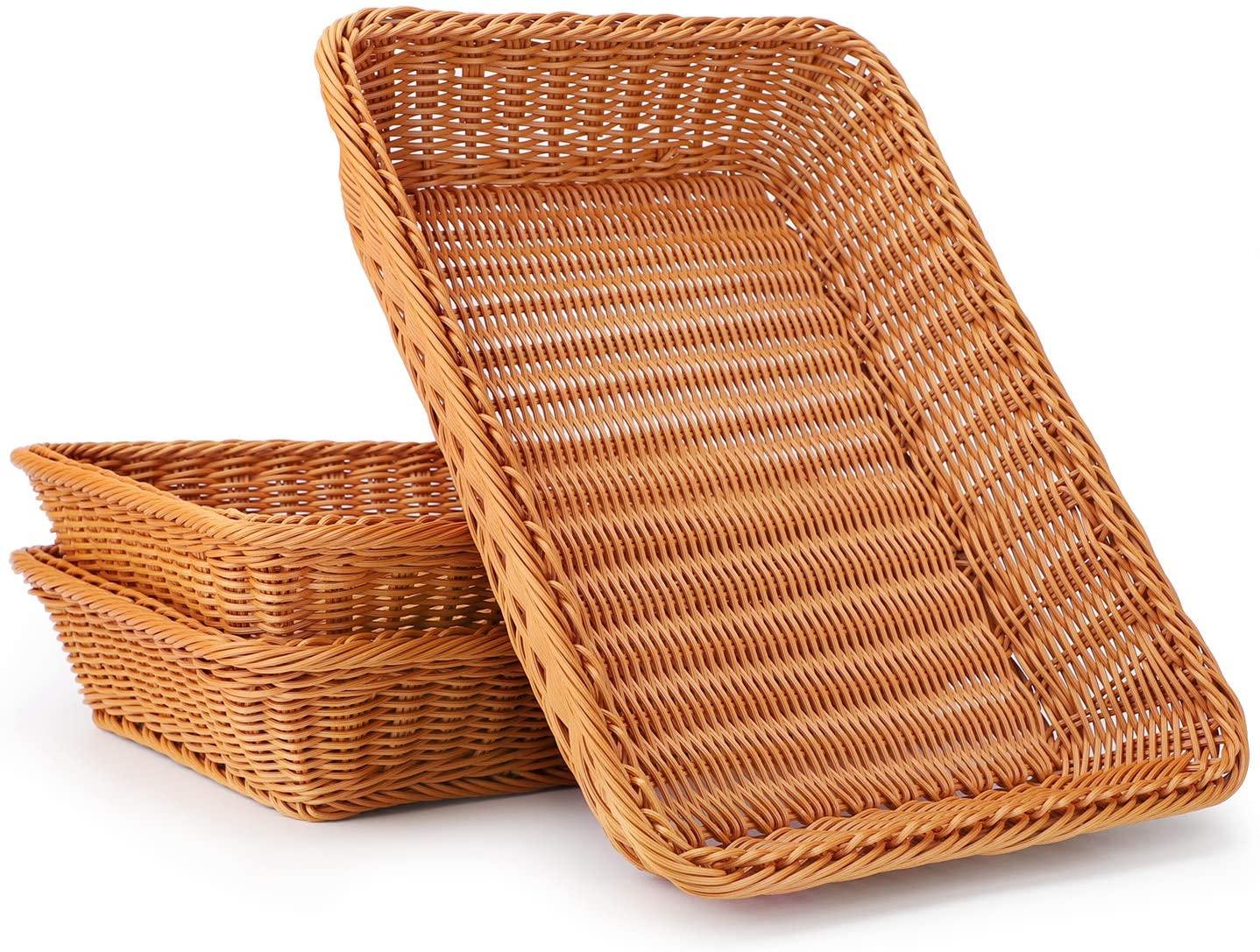Poly-Wicker Bread Basket, Eusoar 3 Pack 15.8