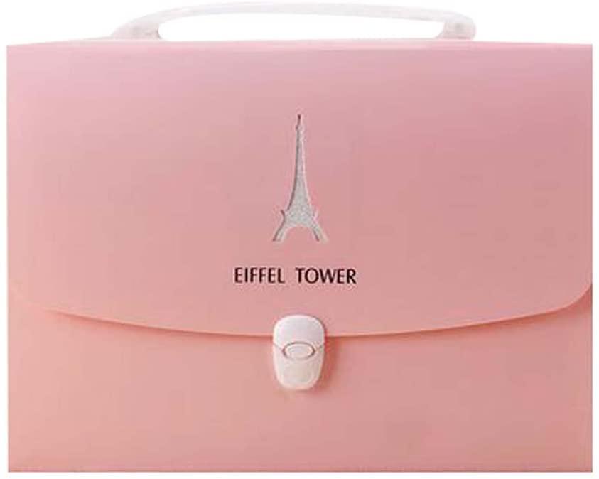 Office Briefcase 13-Pocket Document Expanding File Folder (33 x 25 X 4 cm) Pink