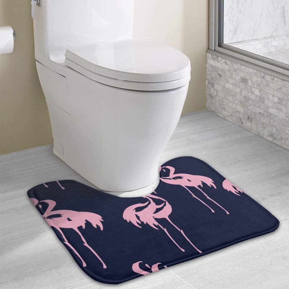 NiYoung Anti-Skid Memory Foam Toilet Contour Mat Toilet Bath Rug Pink Flamingos Pattern Home Decor Nursery Rugs Indoor & Outdoor Entrance Mat, Machine-Washable/Quick Dry Doormat