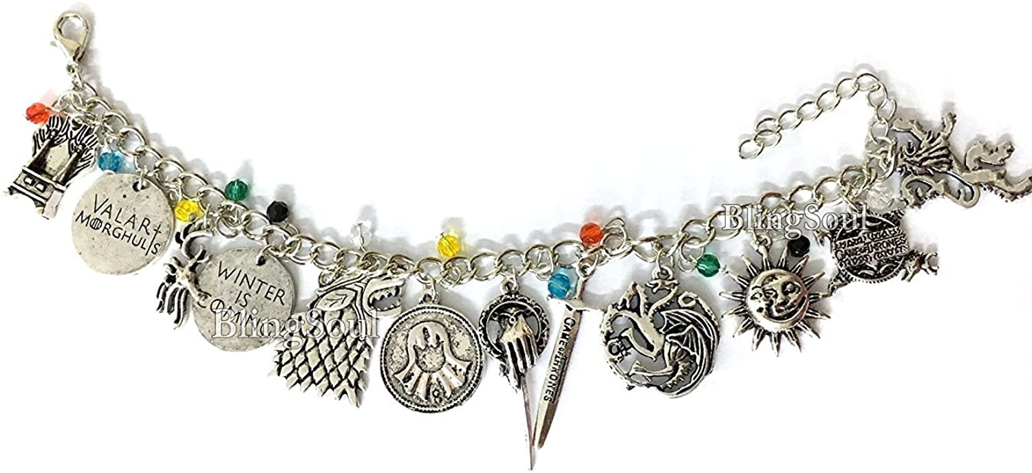 Game Charm Bracelet - Thrones Christmas Jewelry Merchandise Gift for Women Silver