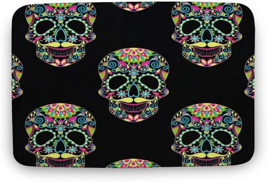 ASO-SLING Color Sugar Skull Halloween Bath Carpet with Non Slip Backing Water Absorbent Bathroom Rug Mat Super Cozy Coral Velvet Machine Washable Chair Mat Carpets