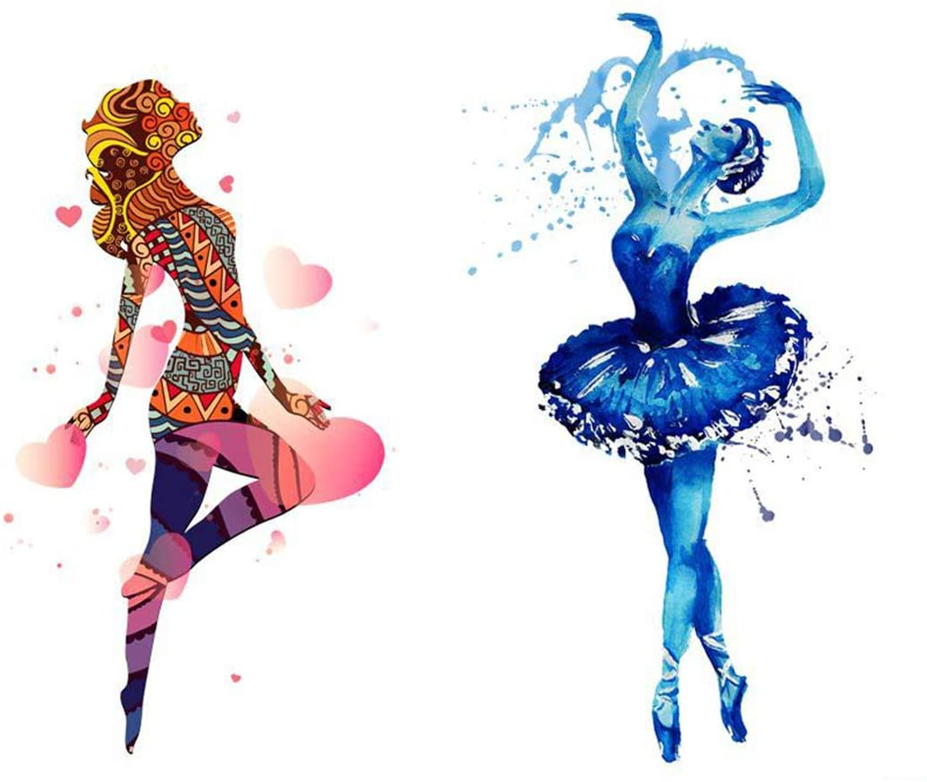 Dancing Girl Iron On Transfers 2 Sheets Colorful Pattern Appliques for Birthday Girl Magical HTV Decorations Stickers DIY Garments Accessories Clothes for T-Shirt Clothing Jeans Backpacks Dress