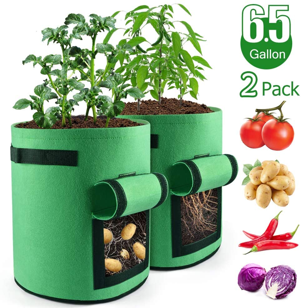 Cathunez Grow Bags 6.5 Gallon 2 Pack,Garden Grow Bags with Flap and Handles, Double Layer Premium Breathable Nonwoven, Growing Bags for Potato,Tomato,Carrot,Onion,Fruit Vegetables