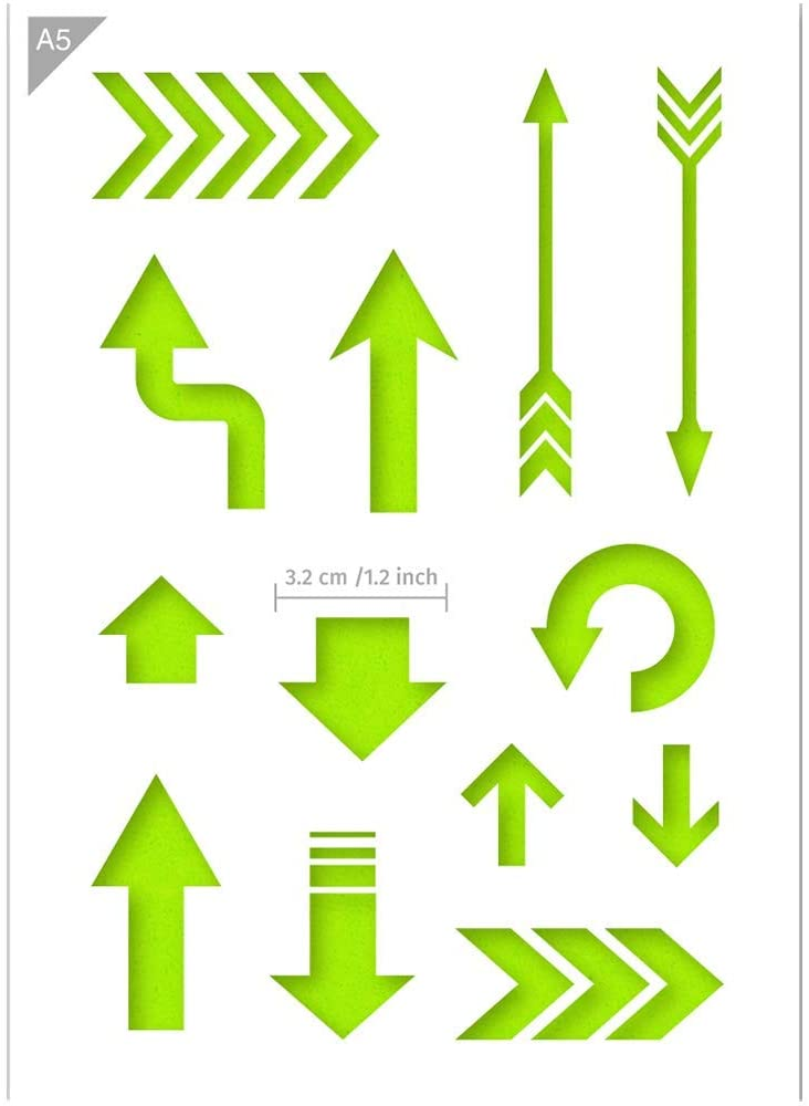 Arrow Shapes Stencil - Card or Plastic - A5 5.8 x 8.3 inch – Left Middle Arrow Width 1.2 inch - Reusable, Kids Friendly Stencil - Painting, Crafts, Cakes, Wall and Furniture Stencil (Plastic)