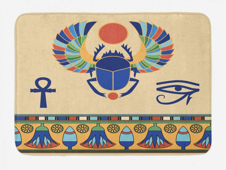 Ambesonne Egyptian Print Bath Mat, Antique Historical Culture of Scarab Eye Ornaments, Plush Bathroom Decor Mat with Non Slip Backing, 29.5 X 17.5, Cream Navy