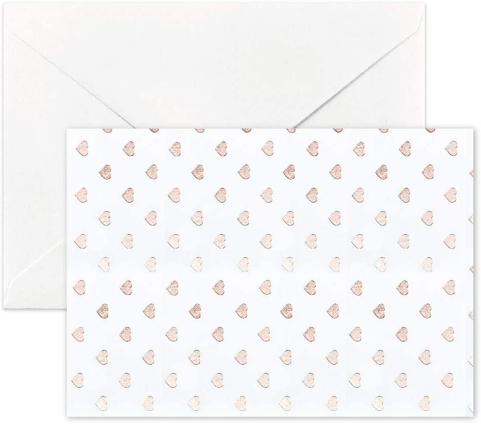 Besecraft White Notecards with Rose Gold Foiled Notecards and Envelopes Set, Wedding Thank You Cards Stationary Cards for Greeting, Bridal Showers, 10 Packs, Folded Size 92x130mm