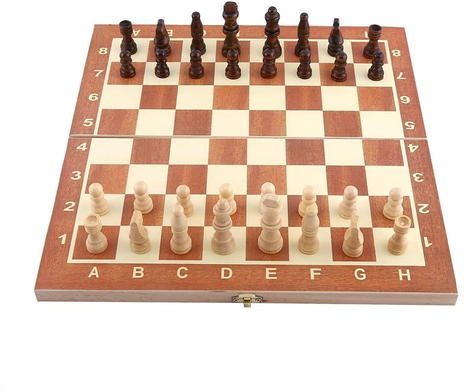 Thur amo Folding Wooden Chess Set with Storage Box 3 in 1 International Board Chess Checkers 34 x 34 cm