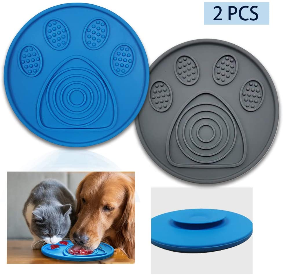 Auland Lick Mat for Dogs Dog Bathing Distraction Device Slow Treat Dispensing Mat with Super Suction Lick Dog Mat Suctions to Wall for Pet Bathing Grooming and Dog Training Dog Bath Toys