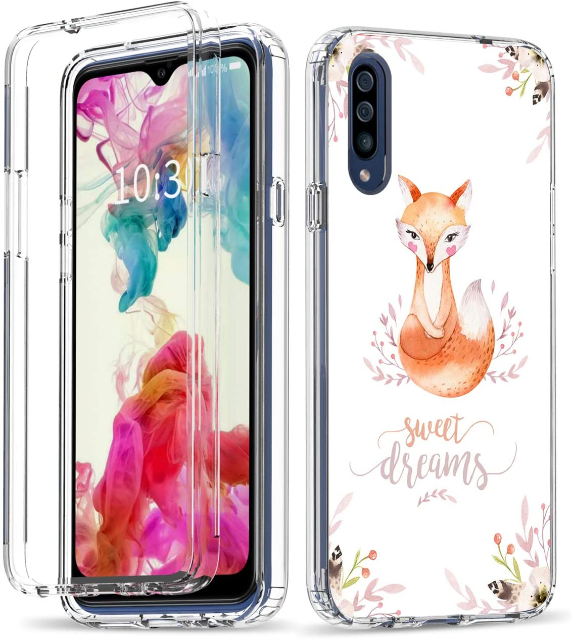 Galaxy A20S Case, Amook Shockproof Clear Dual Layer Hybrid Hard PC+Soft TPU Bumper 2 in 1 Transparent Protective Cover Phone Case for Samsung Galaxy A20S 6.5 Inch-Cute Fox