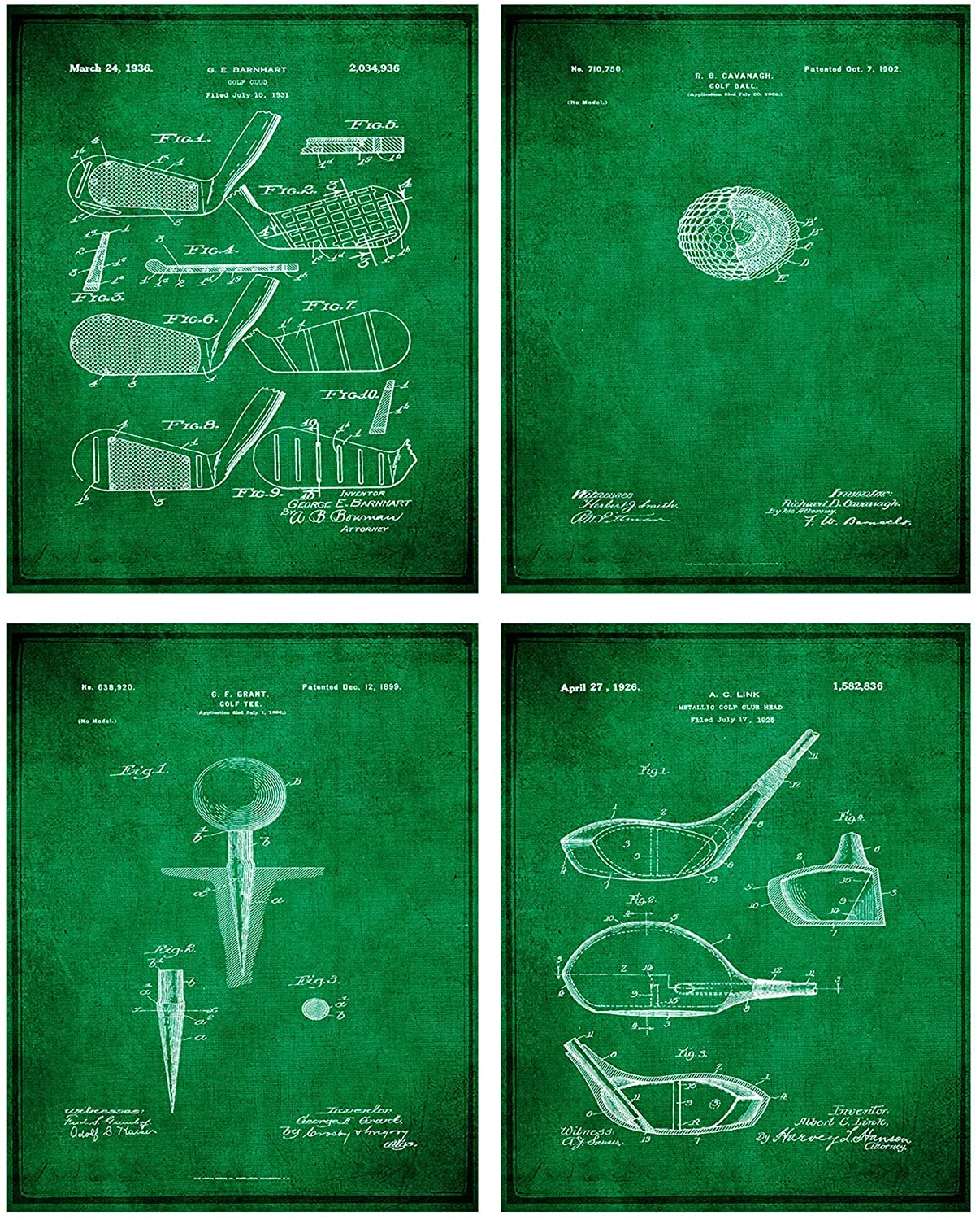 Golf Patent Print Wall Art - Set of Four Fine Art Photos 8x10 Unframed - Great Gift for Golfers Decor (Olive)