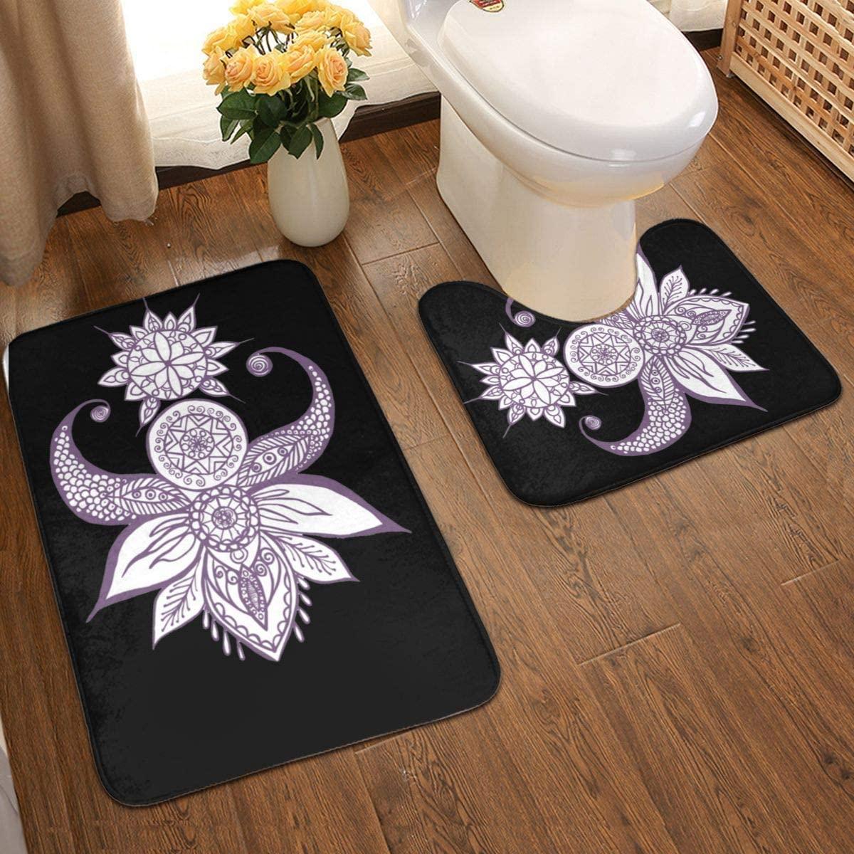Yoga Bathroom Antiskid Pad Non-Slip Bath Carpet Floor Mat Rug 2 Sets -Floor Mat+U-Shaped Pad, Toilet Washable Blanket Mats for Bathroom Home Shower