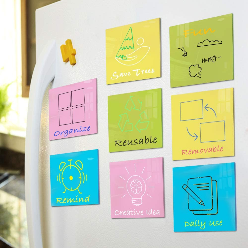 Dry Erase Self Sticky Notes. Reusable Whiteboard Stickers - Post Reminders, Labels, Lists, and Decals, Paper Saving (4 Mixed Colors, 8Pack- 4in x 4in)