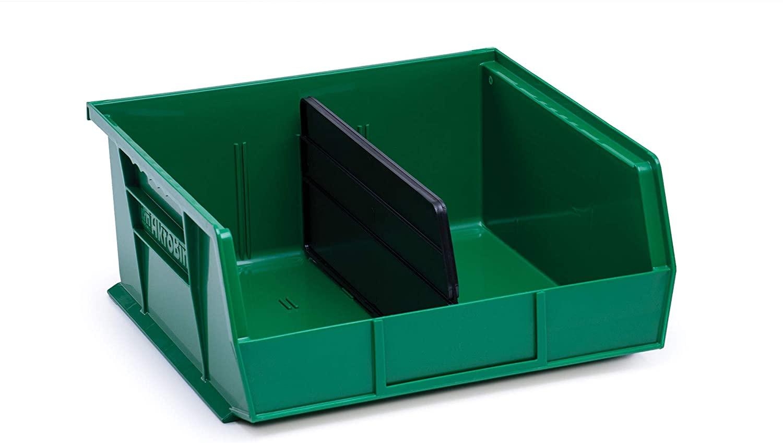 AkroBin 30235 Green Stack & Hang Bins 10-7/8 x 11 x 5 Bundle with Length Dividers