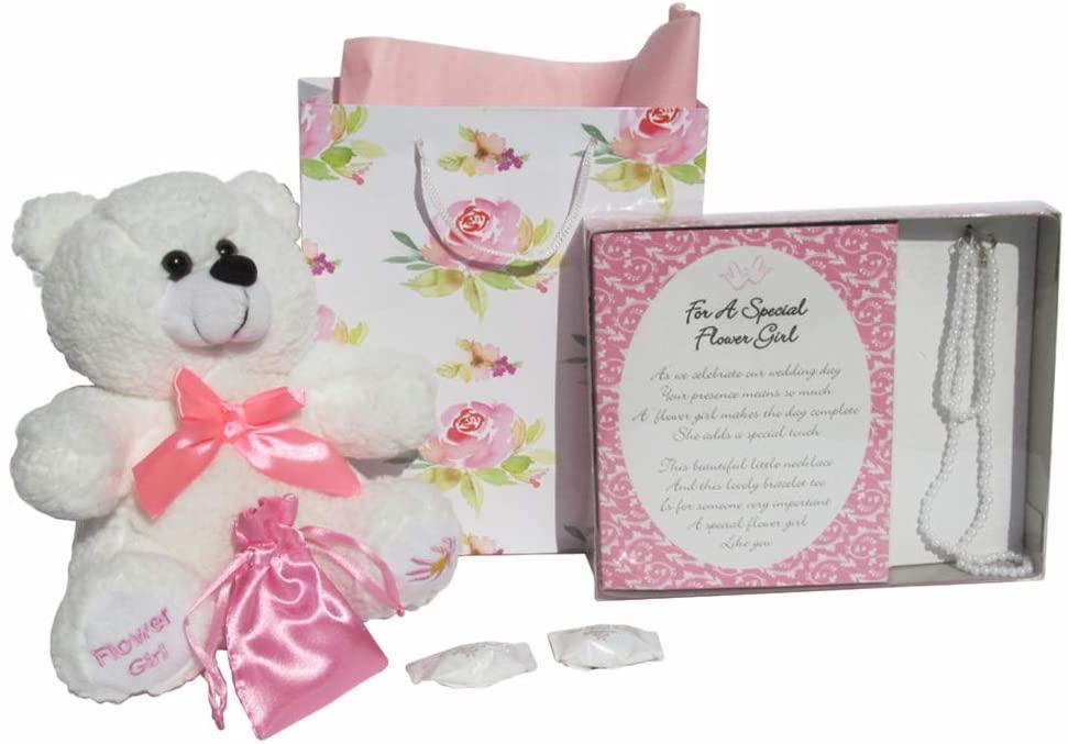 Flower Girl Bracelet and Necklace – Flower Girl Plush Bear- Flower Bag with Pink Tissue Paper