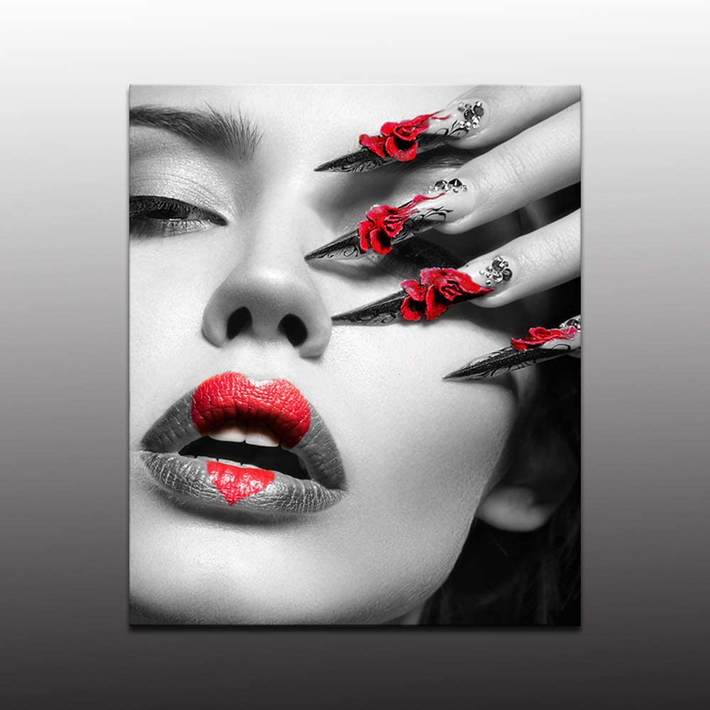 Biuteawal - Woman Wall Art for Bedroom Decor Red Love Lips and Nails Pictures Prints on Canvas Elegant Makeup and Manicure Poster for Home Spa Beauty Salon Wall Decoration Ready to Hang