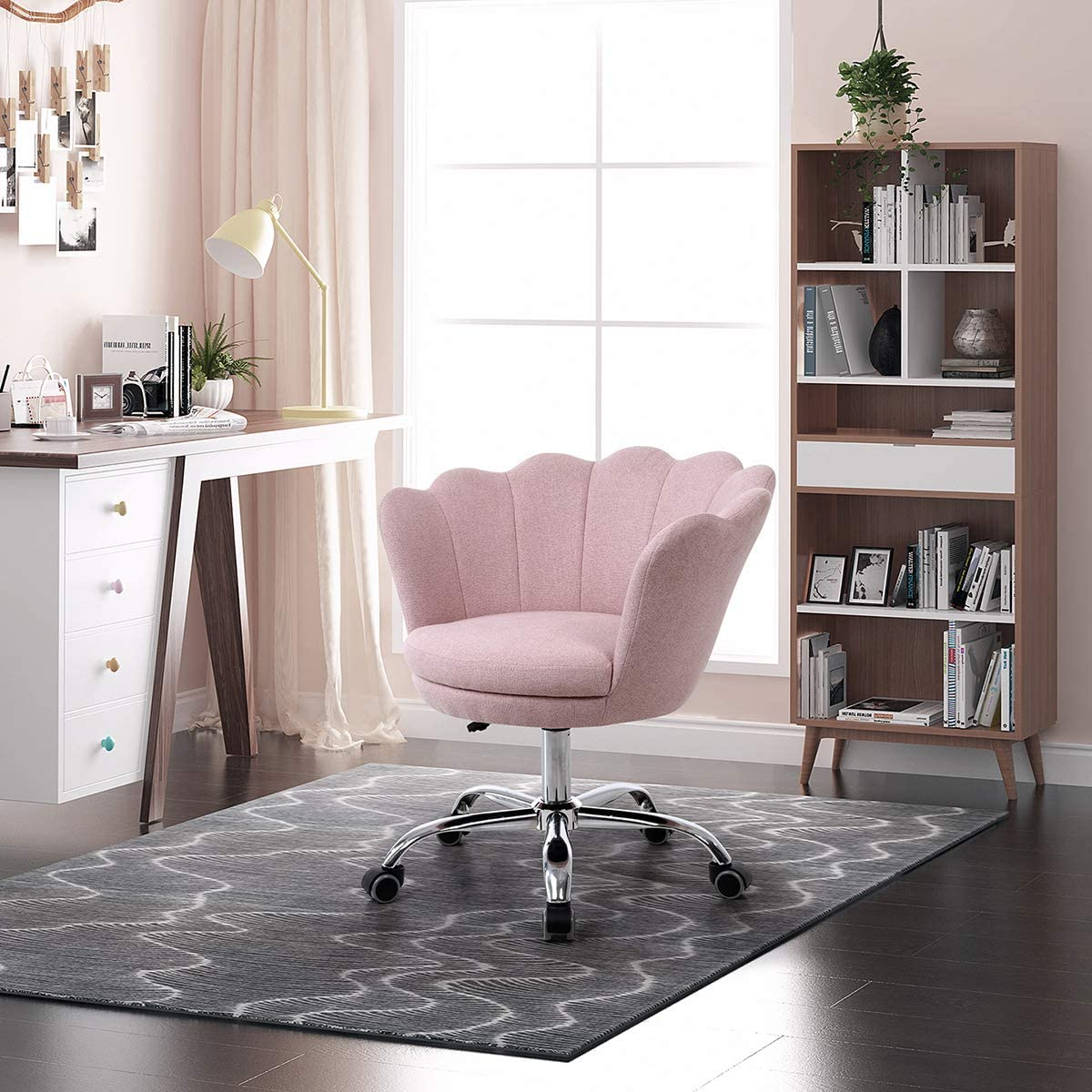 SSLine Home Office Chair,Modern Linen Fabric Desk Task Chair Accent Chair,Computer Desk Chair with Swivel and Adjustable,Accent Home Office Task Chair Executive Chair with Soft Seat (Pink-2)