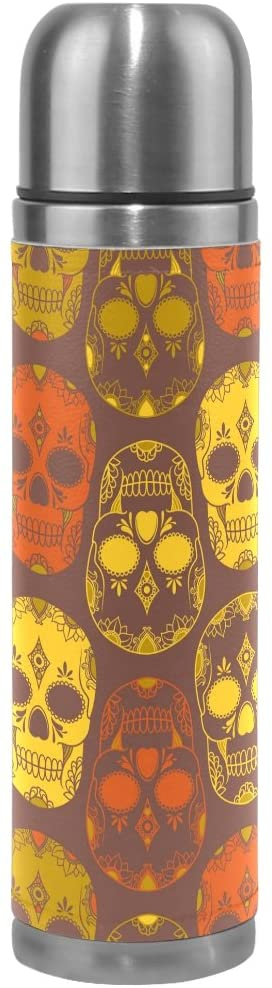 ALAZA Happy Halloween Colorful Sugar Skull Vacuum Flask 17 oz, Double Layer Stainless Steel Vacuum Insulated PU Leather Travel Mug Kettle Bottle Cup