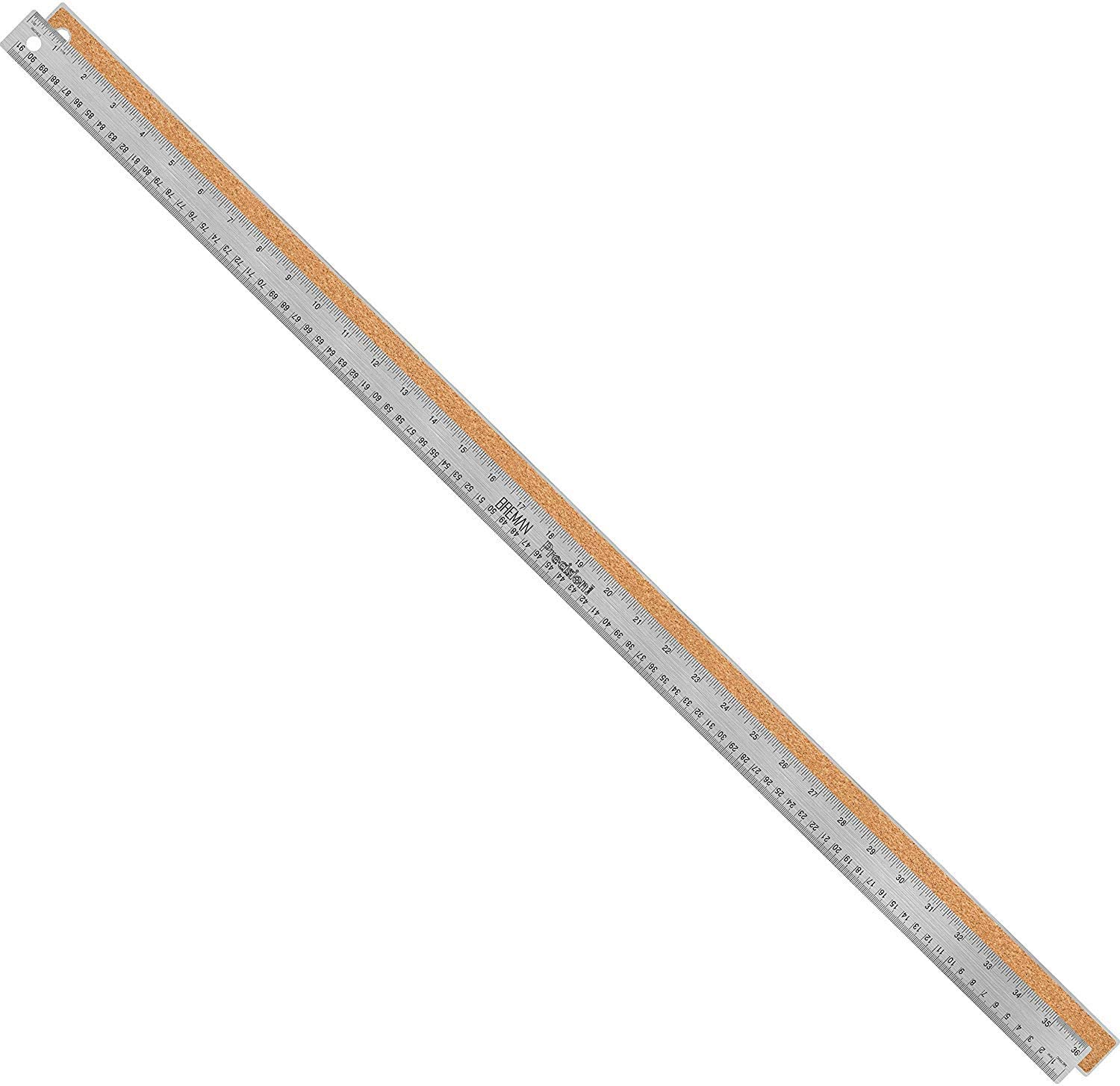 Breman Precision Stainless Steel 36 Inch Metal Rulers - Straight Edge Rulers with Inch and Metric Graduations for School Office Engineering Woodworking - Flexible with Non Slip Cork Base