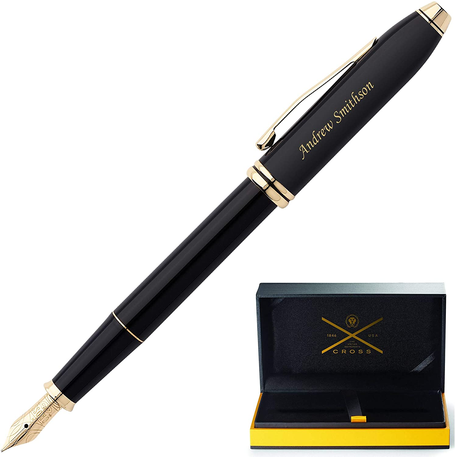 Cross Fountain Pen | Engraved/Personalized Cross Townsend Black with 23krt Gold Fountain Pen - Medium nib Customized - Custom Engraved Fast.
