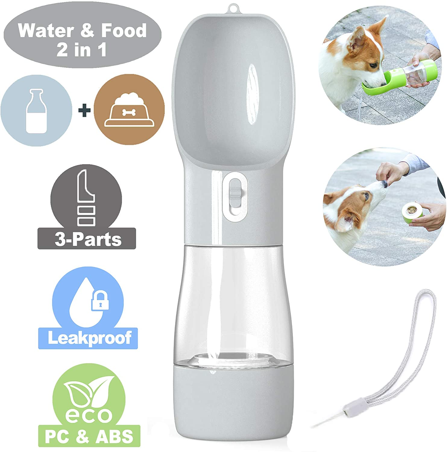 iiDesign Dog Treats and Water Bottle, Portable Pets Drinking Feeding Bottle for Walking and Hiking, Dog Outdoor Travel Water and Food Bottle