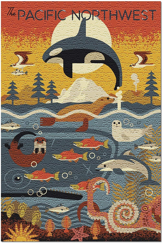 Pacific Northwest - Marine Animals - Geometric (Premium 500 Piece Jigsaw Puzzle for Adults, 13x19)