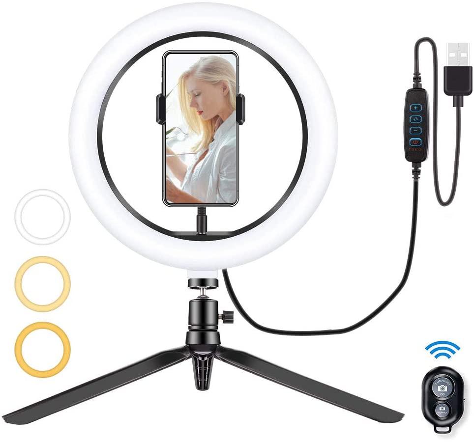 Led Ring Light Smartphone Light Ring Light 10 Inch 3 Color Mode 10 Steps Dimming 3000-6500K Usb Table Lamp For Shooting Lighting Led Beauty Makeup Youtube Live Broadcast Selfie Advertising Photo