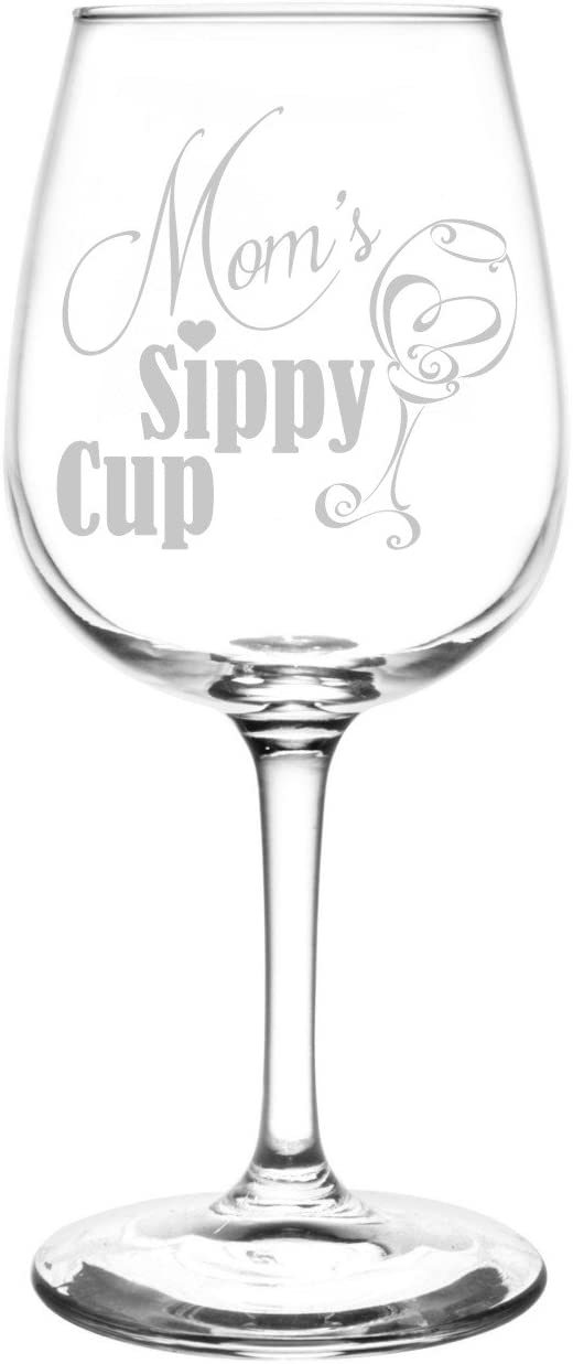 Personalized & Custom (Mom) Funny Sippy Cup Novelty Present & Gift Idea Inspired - Laser Engraved 12.75oz Libbey All-Purpose Wine Taster Glass