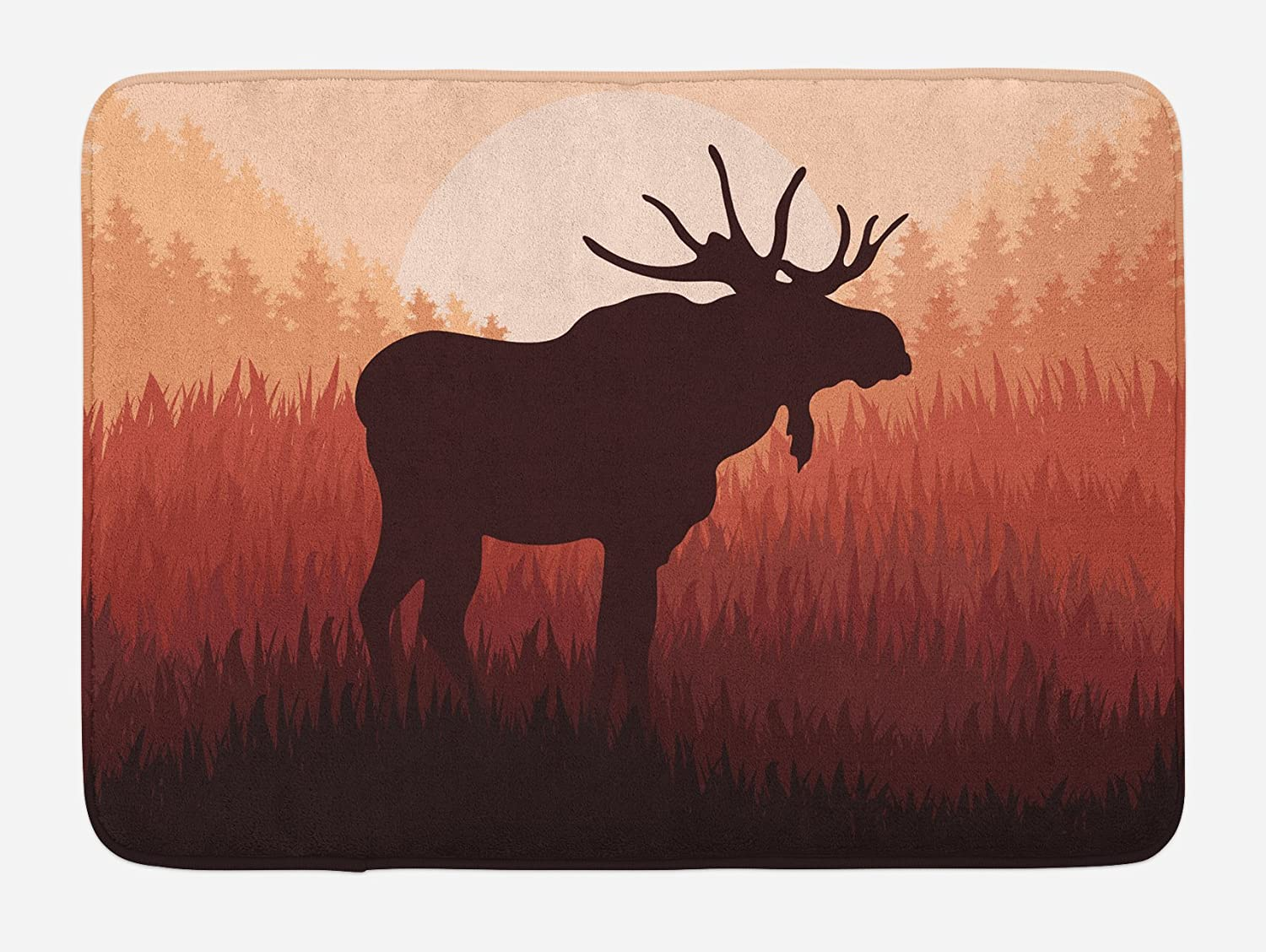 Ambesonne Moose Bath Mat, Antlers in Wild Alaska Forest Rusty Abstract Landscape Design Deer Theme Woods, Plush Bathroom Decor Mat with Non Slip Backing, 29.5