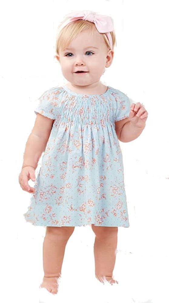 Mud Pie Blue Rose Smocked Dress (3-6 Months)