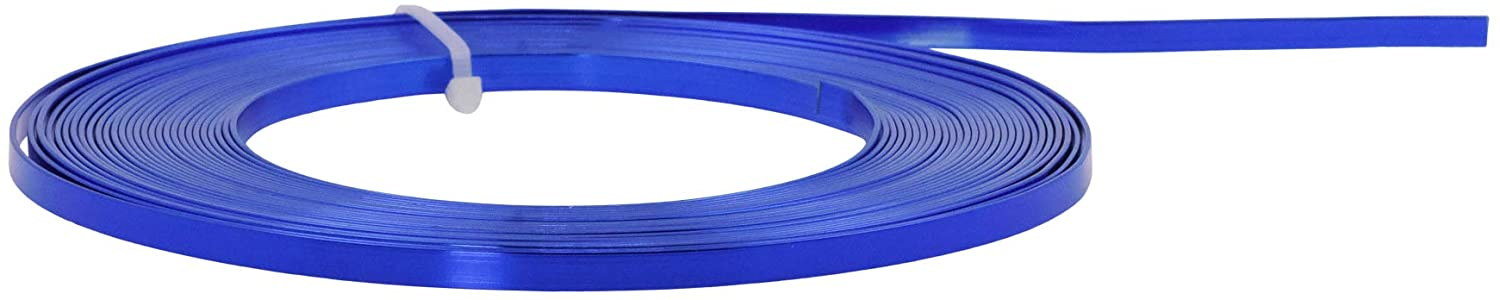 Mandala Crafts Flat Aluminum Wire for Bezel, Sculpting, Armature, Jewelry Making, Gem Metal Wrap, Gardening; Anodized Colored and Soft (Blue, 3mm Wide 33 Feet Long 18 Gauge)