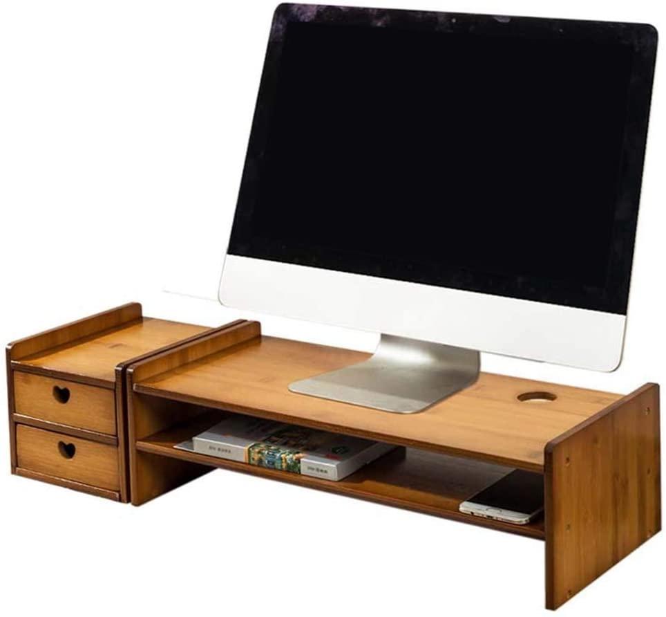 Computer Stands Monitor Stand Wood Desk Organizer Computer Monitor Stand TV Desktop Organizer Computer Stands with 2 Drawers (Color : D)