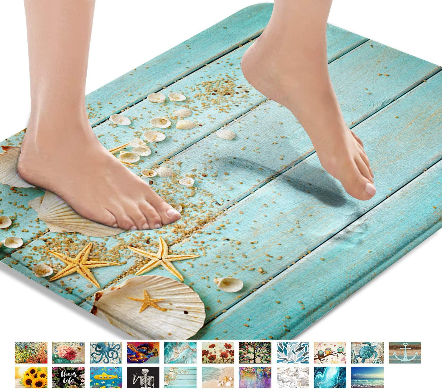 Britimes Bath Mats for Bathroom, Bathroom Mats Rugs No Silp, Beach Shell Sea Collection Vintage Boho Washable Cover Floor Rug Carpets Floor Mat Bathroom Decorations 16x24 Inches for Kitchen Bedroom
