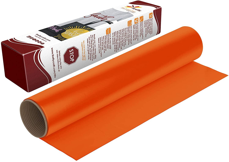 Firefly Craft Neon Orange Heat Transfer Vinyl Sheet   Fluorescent Orange HTV Vinyl   Bright Orange Iron On Vinyl for Cricut and Silhouette   Heat Press Vinyl for Shirts - 12