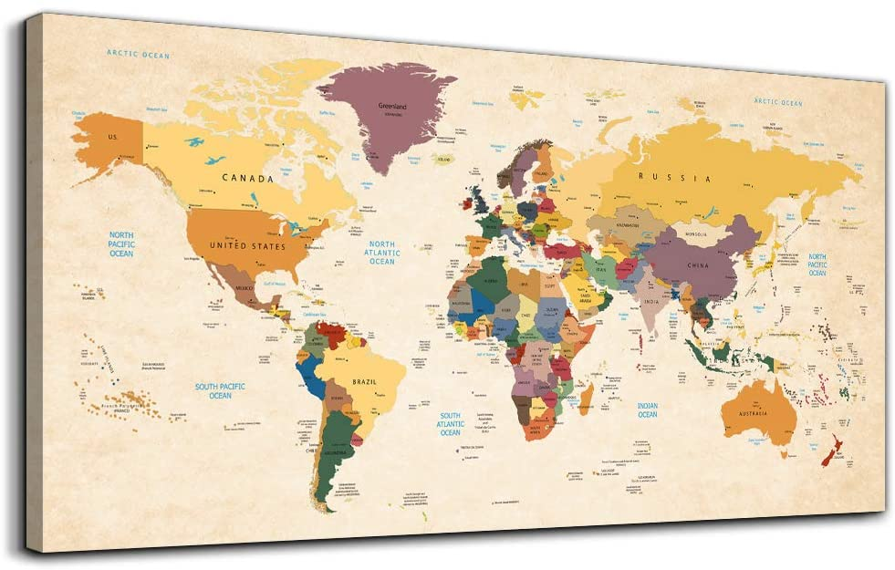 Canvas Wall Art for Office Wall Decor for Living Room,yellow Vintage World Map Poster Printed,Retro Style world map Color Map Prints picture Watercolor painting Bedroom Artwork Hotel Home Decoration
