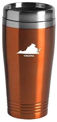 Virginia-State Outline-16 oz. Travel Mug Tumbler-Orange