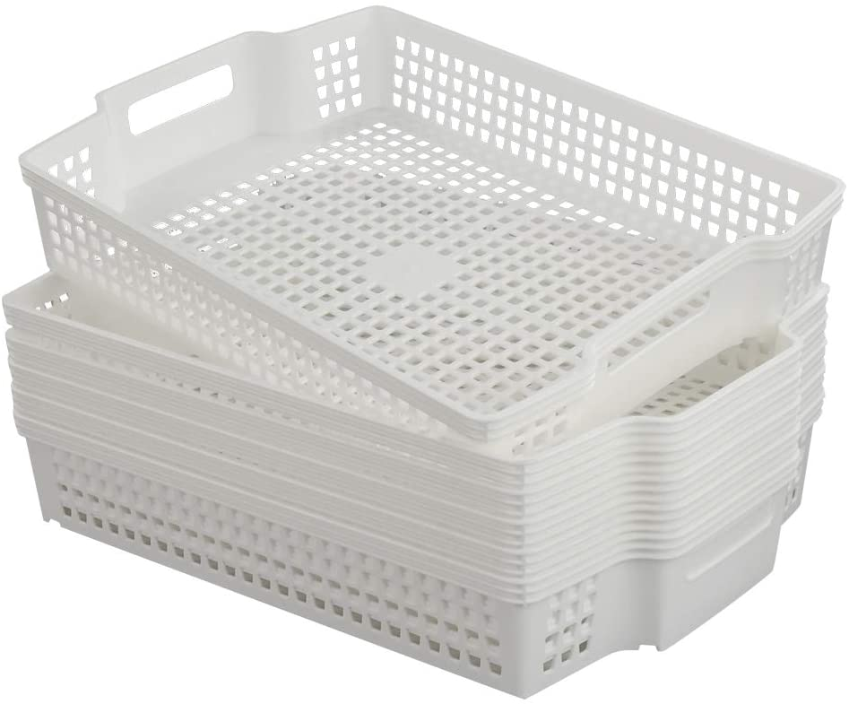 Saedy White Plastic Basket Tray with Handle, 6 Packs