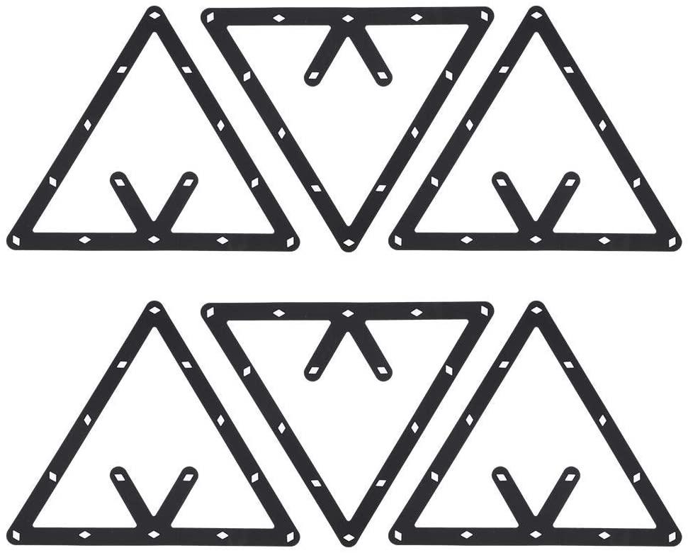 Dilwe Billiard Rack, 6Pcs/Set Triangle Rack Pool Table Ball Holder Positioning Rack Billiard Accessory