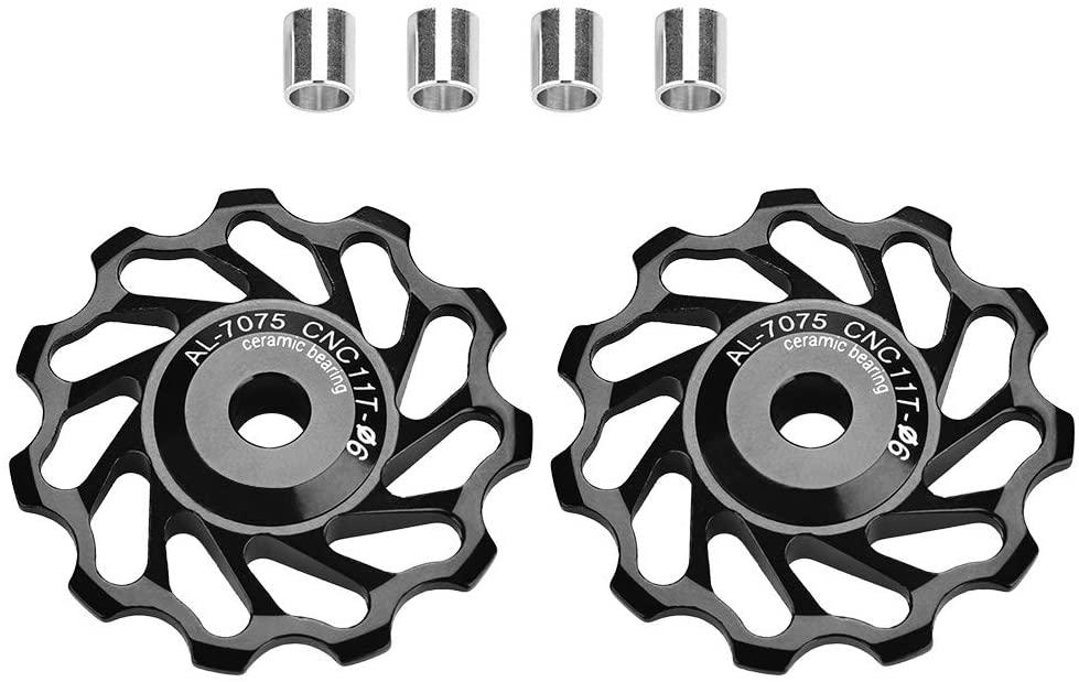 Vbestlife 1 Pair 11T / 13T Bicycle Rear Derailleur Pulley Ceramic Bearing Rear Pulley Jockey Wheel Bike Guide Roller