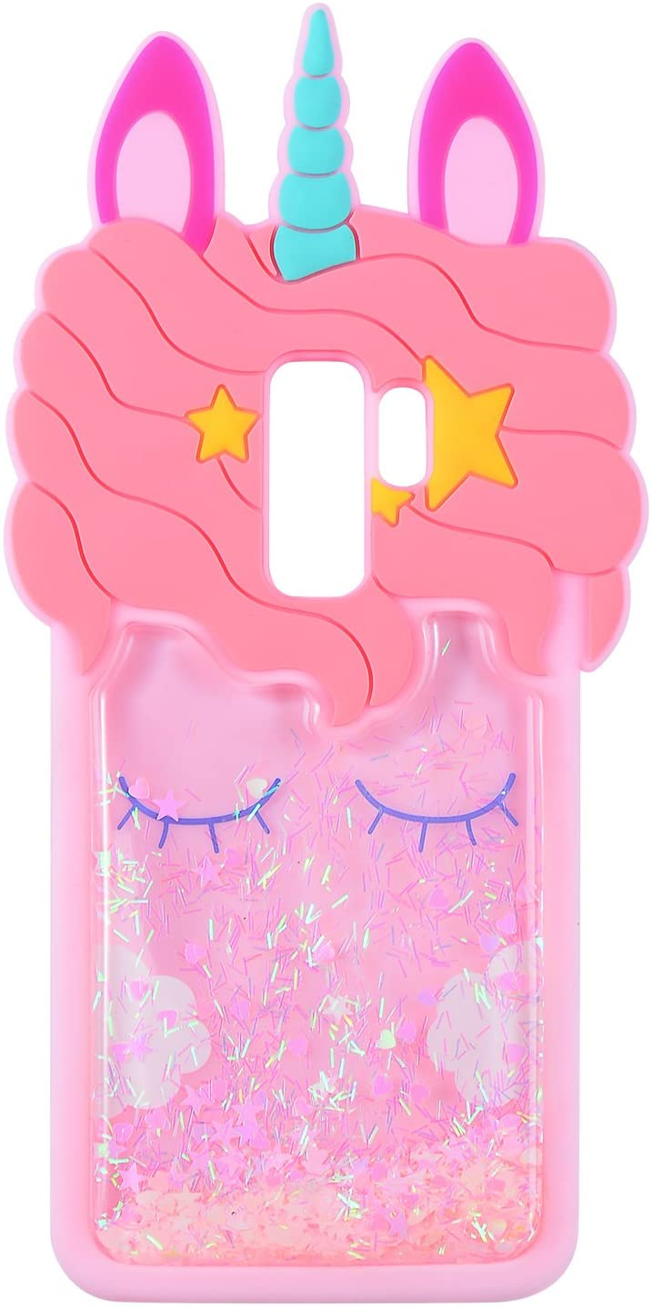 Quicksand Unicorn Case for Samsung Galaxy S9 Plus,Soft Cute Silicone 3D Cartoon Animal Cover, Mulafnxal Shockproof Cases,Kids Girls Bling Glitter Rubber Kawaii Character Protector for Samsung S9Plus +