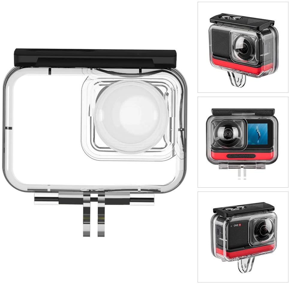 Waterproof Housing Case,Docooler Action Camera Housing Underwater Housings Photography Accessory Compatible with Insta360 ONE R 360 VR Edition Action Cameras (40 Meters)